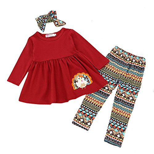 Fall 3 Piece Outfit (Rainlover Girls 3 Piece Clothes Set Long Sleeve T-Shirt and Pants Outfit Fall Clothes (Wine Red, 5-6 Years))