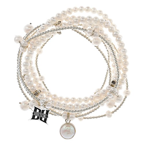 Drexel Dragons 7 Strand Freshwater Pearl and Silver Bracelet by College Jewelry