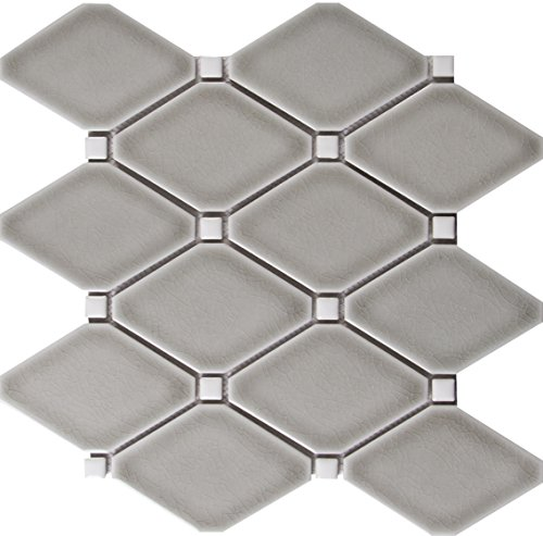 - M S International Diamond Dove Gray 12.28 In. X 12.8 In. X 8 mm Glazed Ceramic Mesh-Mounted Mosaic Tile, (10.9 sq. ft., 10 pieces per case)