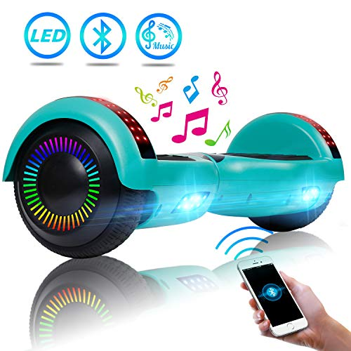 """UNI-SUN 6.5"""" Bluetooth Hoverboard for Kids, Self Balancing Hoverboard with Bluetooth and LED Lights for Adults, UL 2272 Certified Hover Board, Green Hoverboard"""