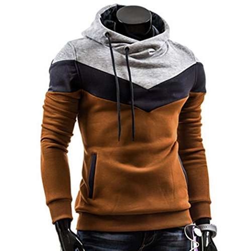 Capuche Hommes À Rétro Épissage Café shirt Bluestercool Sweat Longue Manche Fashion Tops XAxqaA6p