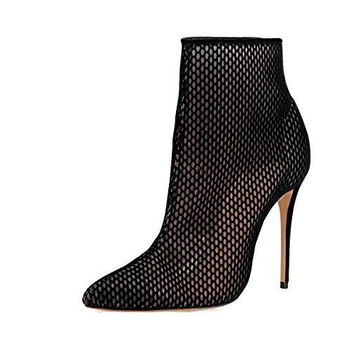 FSJ Women Fashion High Heel Ankle Boots Rivets Pointed Toe Stilettos Zipper Shoes Size 8 Black Mesh