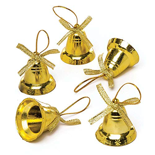 Baker Ross Gold Bells (Pack of 20) for Kids Christmas Crafts and Decorations -