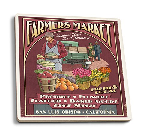 San Luis Obispo, California - Farmers Market Vintage Sign (Set of 4 Ceramic Coasters - Cork-backed, Absorbent) (Farmers Market Mug)