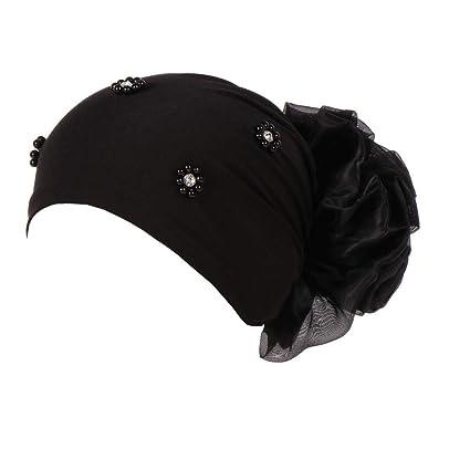 887b421e780 Amazon.com  EnjoCho ❤2018 New Women Stretchy Hat Turban Head Wrap Chemo  Bandana Hijab Pleated Indian Cap (Black)  Garden   Outdoor