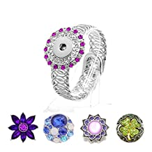 Ginger Snap Bangle Bracelet Fit 18MM Snap Button Charms DIY Adjustable Bangle Jewelry with Rhinestone