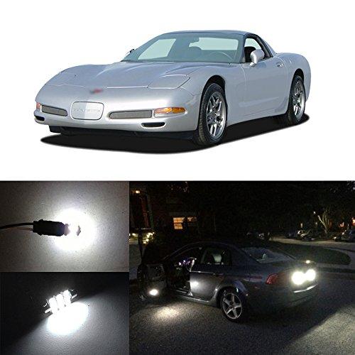 (D15 Lighting White LED Interior Package Kit + License Plate + Reverse Light For 1997-2004 Chevy Corvette C5 (12 Pieces))