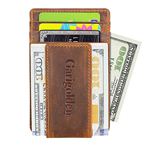 (Garigolden Money Clip, Leather RFID Blocking Wallet for Men(Vintage Brown))
