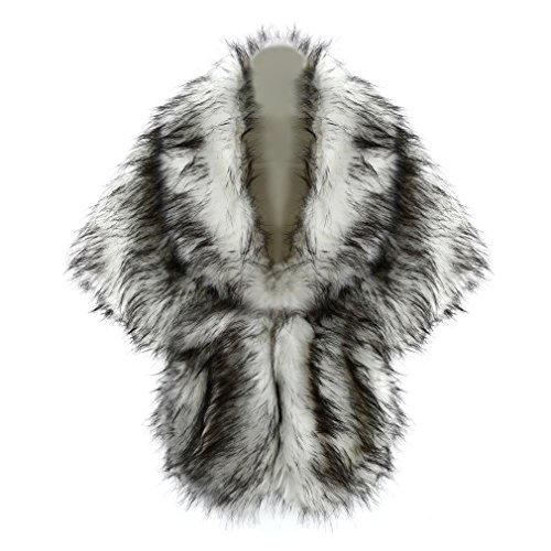 FUNOC Women Bride Faux Fur Wedding Party Show Shawl Wrap Stole Cape Shrug White Wolf - Wolf Cape