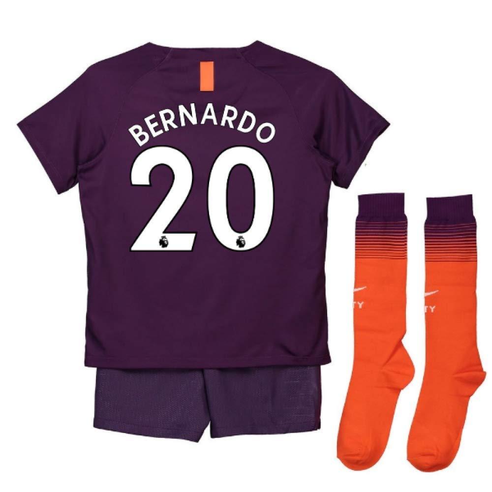 UKSoccershop 2018-2019 Man City Third Nike Little Boys Mini Kit (Bernardo Silva 20)