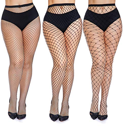 Plus Size Photoshoot Ideas (Womem's Sexy Black Fishnet Tights Plus Size Net Pantyhose Stockings (Black 3 Pairs, Plus)