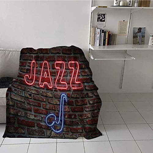 Georgia Sign Bulldogs Neon (Khaki home Children's Blanket Throw Warm Blanket (50 by 60 Inch,Jazz Music Decor,Image of Bright Neon All Jazz Sign with Saxophone On Brick Wall Print Design Decor,Red Blue)
