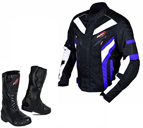MAXFIVE X Motocicletta stivale Large da Cordura Scarpe Motociclo UK10 Tessile Stivali Caviglia Scivolare Pelle Blu amp; spoorts corsa Medium Uomo biker Lungo Giacca Anti EU44 Protezione corazzato Giacca rrZdFqw