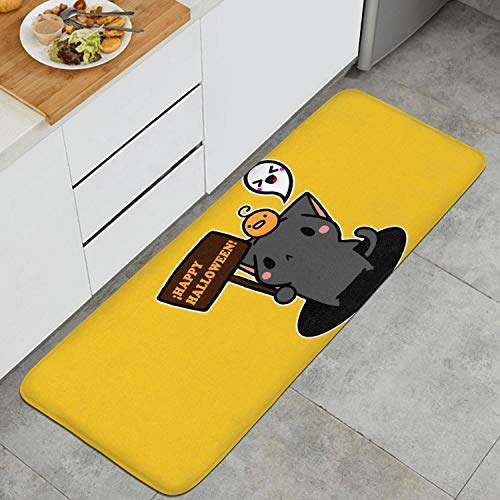 Fashion Kitchen Mat Happy Halloween Kawaii Cat Floor Mat Washable Entrance Rug Clear and Bright Color 47.2