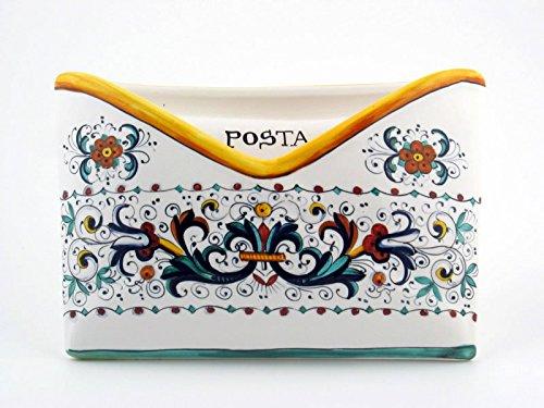 Hand Painted Italian Ceramic 9.4-inch Mail Organizer Ricco Deruta - Handmade in Deruta