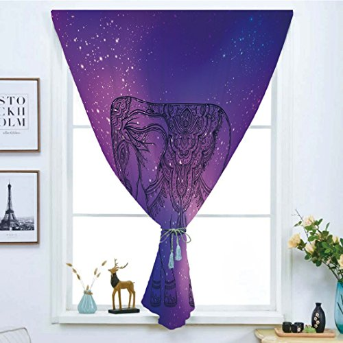 Blackout Curtain Free Punching Magic Stickers Window Curtain,Elephant Mandala,Sketchy Hand Drawn Holy Guardian Animal Print in Outer Space Image,Purple and Pink,for Living Room Bedroom, study, kitchen by iPrint