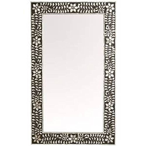 Antique Rustic Floral Black Bone Inlay Handmade Mirror Frame Inlay Furniture