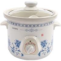JIANG Mini Olla de cocción Lenta eléctrica para el hogar 135W Mini Temporizador mecánico Sopa de estofado Gachas de Avena Máquina de cocción de Alimentos de cerámica 1.5L