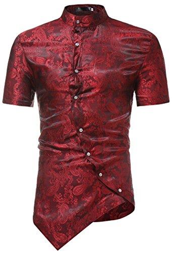 HOP Men's Casual Short Sleeve Irregular Longline Hem Slim Fit Paisley Button Down Dress Shirt Bandanna Embrodiery HOPM121-Wine-S