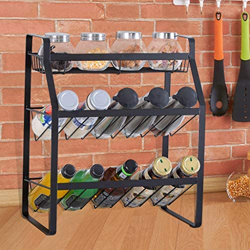 Finelylove Countertop Spice Rack Organizer for Cabinet, Spice Jar Holder, Kitchen Rack Spice Organizer – 3 Tier Seasoning Can Jars Bottle Rack
