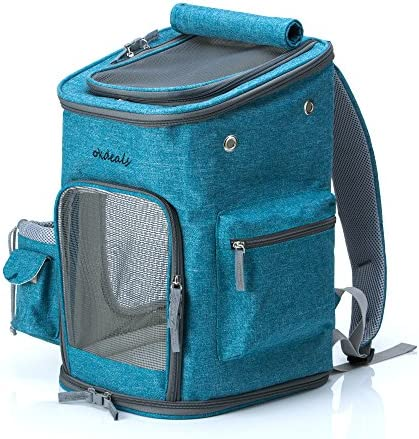 Pet Carrier, Travel Backpack, Washable, Side Pockets for Water Bottle and Garbage Bag, Detachable and Washable Pad, Puppy Kitty Rabbit, for Daily or Travel