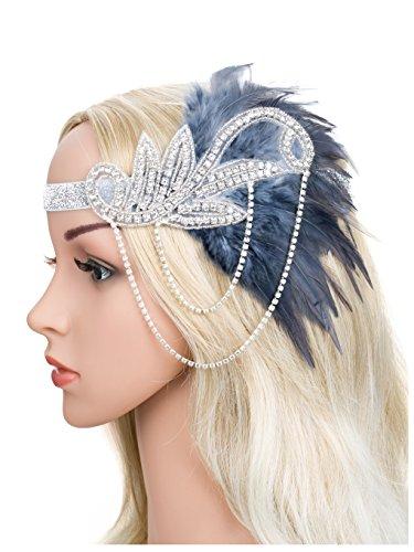 Zivyes 1920s Gatsby Flapper Feather Headband 20s accessories Crystal Beaded Wedding Headpiece (D)