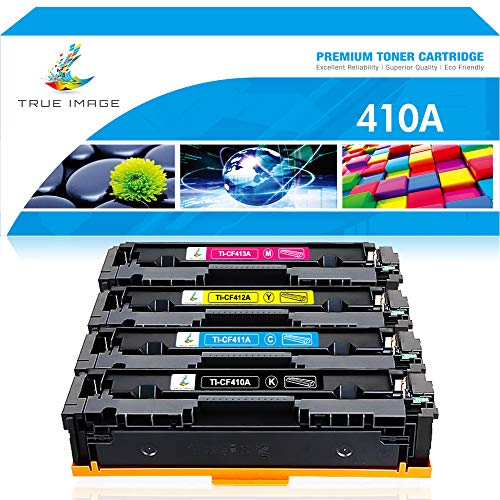 True Image Compatible Toner Cartridge Replacement for HP 410A CF410A CF411A CF412A CF413A Laserjet Pro M477fnw M477fdw M477fdn M452dw M452dn M452nw M477 M452 (Black Cyan Yellow Magenta