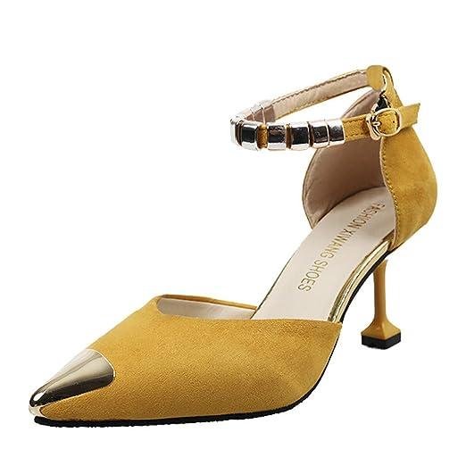 LILICAT✈✈ Moda para Mujer Tacones Altos con Punta Estrecha Tacones Finos Zapato Calzado Individual Sandalias Damas Puntiagudas señoras Zapatos Frescos, ...