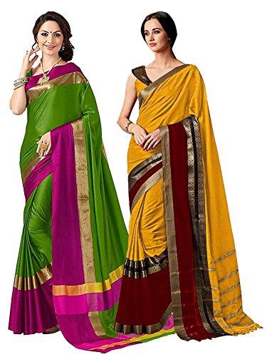 f Two Sarees for Indian Women Cotton Art Silk Printed Weaving Border Saree    Sari Combo (Multi 15) ()