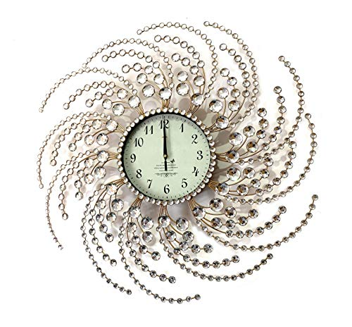 Wall Clock Large Metal Crystal Decorative Circle Fancy Wall Cock Designs