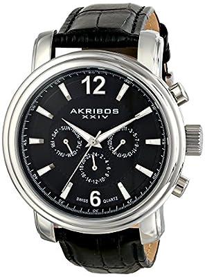 Akribos XXIV Men's AK734SSB Swiss Quartz Movement Watch with Black Dial and Black Genuine Leather Strap