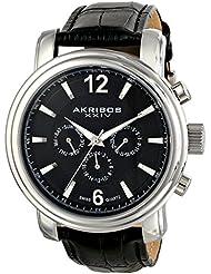 Akribos XXIV Mens AK734SSB Swiss Quartz Movement Watch with Black Dial and Black Genuine Leather Strap