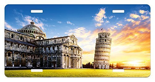 zaeshe3536658 Italy License Plate, Place of Miracoli Complex with the Leaning Tower of Pisa in front Tourist Attraction, High Gloss Aluminum Novelty Plate, 6 X 12 Inches.