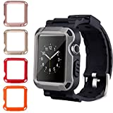 38mm Apple Watch Case Band, PEYOU Full Armor Rugged Protective Hard Cover Case Grey [Built-in Screen Protector] [4 Colors Case for Free] with Adjustable Strap Band for iWatch Apple Watch Series 1/2/3