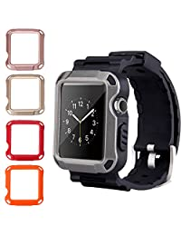 Apple Watch Series 3 Band - Peyou 6 in 1 Rugged TPU Watch Strap Bracelet + 5PCS Protective PC Screen Protector For 42MM Apple Watch Series 3/Series 2/Series 1 2017/2016/2015 All Models