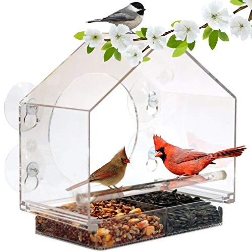 Window Bird House Feeder by Nature Anywhere with Sliding Seed Holder and 4 Extra Strong Suction Cups. Large Bird feeders for Outside. Birdhouse Shape.