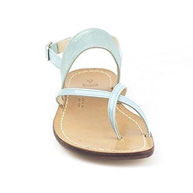 Piccirillo Artigiani Handmade Damen String Sandale Aus Echtem Celeste Leder