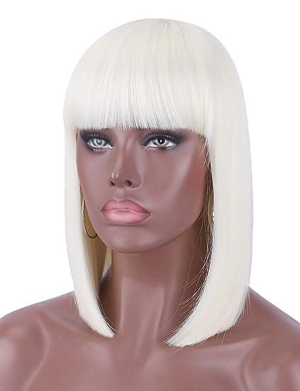 Kalyss Peluca de pelo corto de platino rubio color liso para mujeres negras resistente al calor