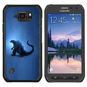 Caucho caso de Shell duro de la cubierta de accesorios de protección BY RAYDREAMMM - Samsung Galaxy S6Active Active G890A - Dinosaurio Arte de la pintura azul del reptil Historia