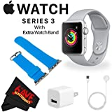 6Ave Apple Watch Series 3 38mm Smartwatch (GPS Only, Silver Aluminum Case, Fog Sport Band) MQKU2LL/A + WATCH BAND BLUE 38mm + MicroFiber Cloth Bundle