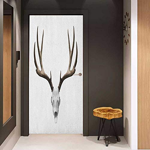 Onefzc Pantry Sticker for Door Antlers A Deer Skull Skeleton Head Bone Halloween Weathered Hunter Collection Sticker Removable Door Decal W38.5 x H79 Warm Taupe Pale Grey ()