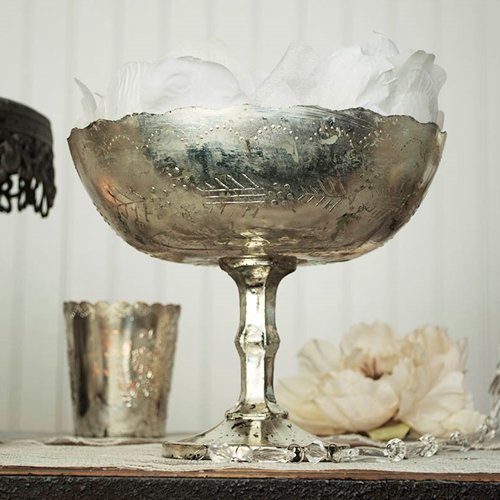 Mercury Glass Compote Dish, Bowl Centerpiece with Pedestal, 8 x 7 inches