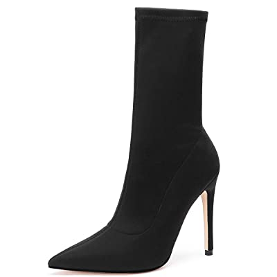 Kitulandy Women's Boots Stretch Lycra Stiletto High Heels Ankle Shoes Pointed Toe Black | Ankle & Bootie