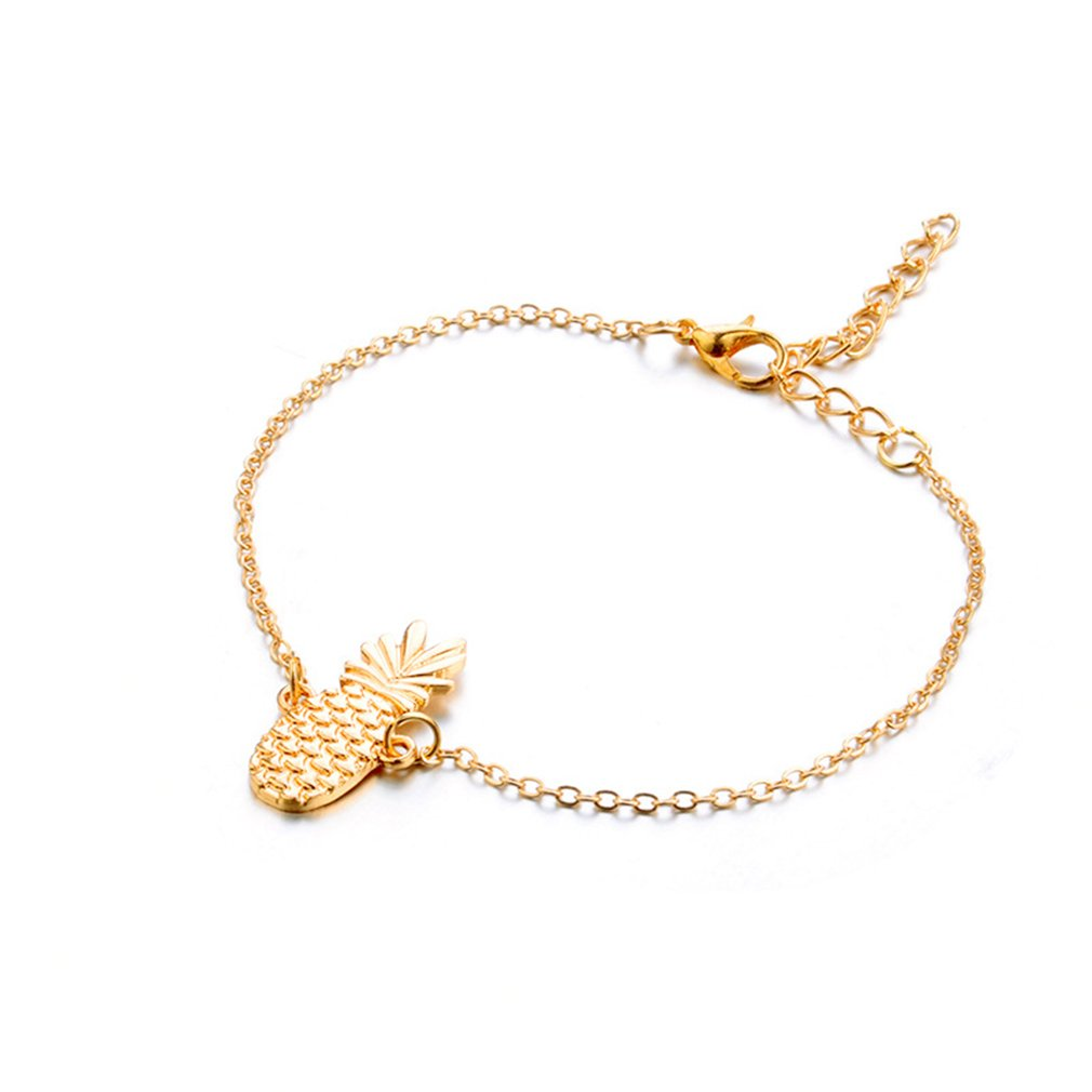 Iumer Women Pineapple Anklet Ankle Bracelet Golden Sandals Foot Chain Jewelry