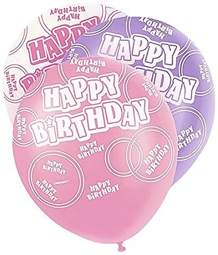Mixed Pink/White/Purple Glitz Girls Classy Happy Birthday, Special Occasion, Party Decoration Latex 12 Balloons 6 In Each Packs by Good Deals Online by Good Deals Online