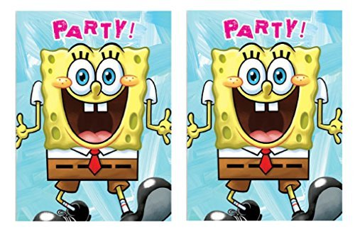 Spongebob Squarepants Childrens Birthday Party 8 ct Invitations, (2 Pack) - Great for 16 Guests! (Spongebob Birthday Invitations)