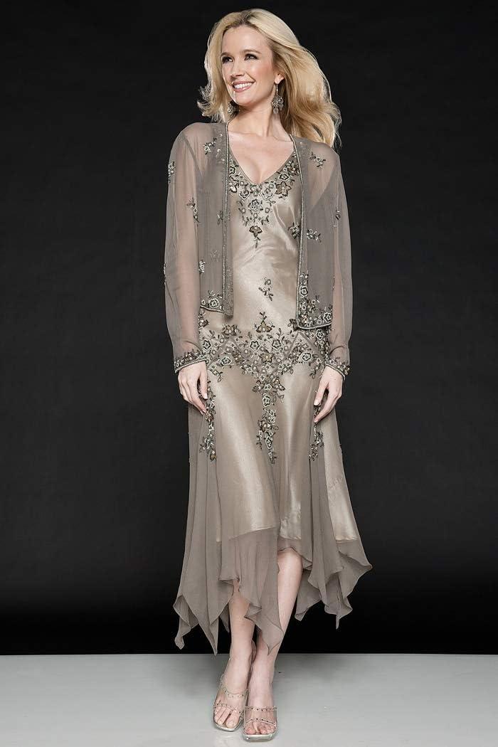 Bingqz Robe/casual/cocktail Robe Magnifique Deux Piece Mousseline De Soie Mère La Robes Mariée Avec Des Manches Longues Mid Carf Soirée Mariage S