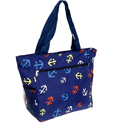 Gen SH Women's Beach Shopper Tote Bag (Blue Anchors)
