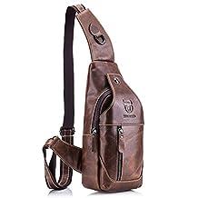 Men Sling Bag,Charminer Genuine Leather Chest Shoulder Messenger Bag Casual Crossbody Bag Daypacks