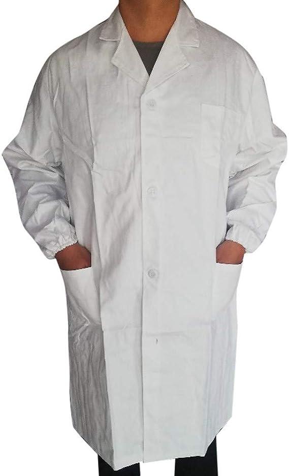 Honestyi Camice Bianco da Laboratorio Unisex Medico Cappotto,Camice per Uomo Donne Camicia con Tasche Adatto per Studente Laboratorio Infermiera Cosplay Abito Cappotti